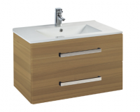 Frontline Aquatrend 600mm Modern Oak 2 Drawer Wall Unit and Ceramic Basin