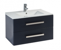 Frontline Aquatrend 600mm Matt Indigo 2 Drawer Wall Unit and Ceramic Basin