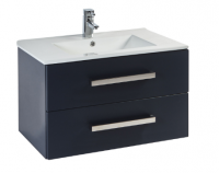 Frontline Aquatrend 760mm Matt Indigo 2 Drawer Wall Unit and Ceramic Basin