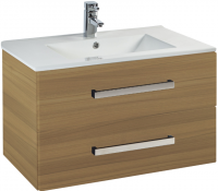 Frontline Aquatrend 760mm Modern Oak 2-Drawer Wall Unit and Ceramic Basin