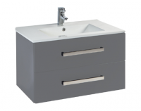 Frontline Aquatrend 760mm Dust Grey 2-Drawer Wall Unit and Ceramic Basin