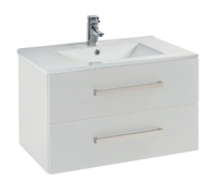 Frontline Aquatrend 760mm Gloss White 2 Drawer Wall Unit & Basin