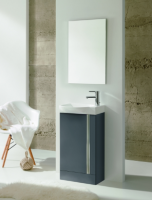 Royo Elegance 455mm Floorstanding Cloakroom Unit inc Mirror Gloss Grey