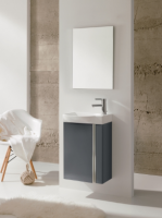 Royo Elegance 455mm Wall Hung Cloakroom Unit with Mirror in Gloss Grey