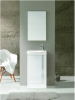 Royo Elegance 455mm Floorstanding Cloakroom Unit with Mirror in Gloss White