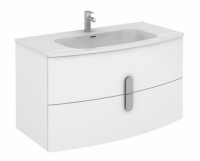 Royo Grandeur 1000mm Wall Unit and Luxury Ceramic Basin in Gloss White