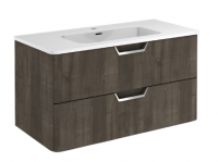 Royo Life 1000mm 2 Drawer Wall Unit and Ceramic Basin in Samara Ash
