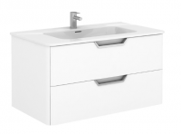 Royo Life 1000mm 2 Drawer Wall Unit and Ceramic Basin in Gloss White