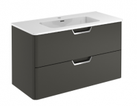 Royo Life 1000mm 2 Drawer Wall Unit and Ceramic Basin in Anthracite
