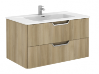 Royo Life 1000mm 2 Drawer Wall Unit and Ceramic Basin in Nordic Oak