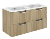 Royo Life 1200mm 4 Drawer Wall Unit inc Double Ceramic Basin Nordic Oak