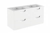 Royo Life 1200mm 4 Drawer Wall Unit and Double Ceramic Basin in Gloss White