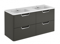 Royo Life 1200mm 4 Drawer Wall Unit inc Double Ceramic Basin Anthracite