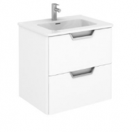 Royo Life 600mm 2 Drawer Wall Unit and Ceramic Basin in Gloss White