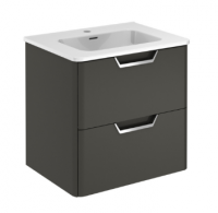 Royo Life 600mm 2 Drawer Wall Unit and Ceramic Basin in Anthracite