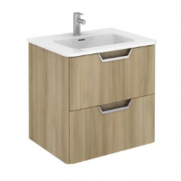 Royo Life 600mm 2 Drawer Wall Unit and Ceramic Basin in Nordic Oak