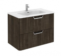 Royo Life 800mm 2 Drawer Wall Unit and Ceramic Basin in Samara Ash