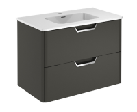 Royo Life 800mm 2 Drawer Wall Unit and Ceramic Basin in Anthracite