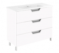 Royo Life 800mm 3 Drawer Floor Standing Unit and Ceramic Basin in Gloss White