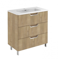 Royo Life 800mm 3 Drawer Floor Standing Unit and Ceramic Basin in Nordic Oak