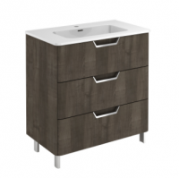 Royo Life 800mm 3 Drawer Floor Standing Unit and Ceramic Basin in Samara Ash