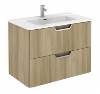 Royo Life 800mm 2 Drawer Wall Unit and Ceramic Basin in Nordic Oak