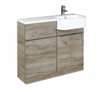 Royo Linea WC Unit, Base Unit and Washbasin (Right-hand) in Oak by Frontline