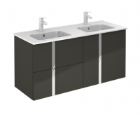 Royo Onix 1200mm 2 Drawer, 2 Door Wall Unit with Double Square Ceramic Basin in Gloss Grey