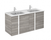 Royo Onix 1200mm 2 Drawer, 2 Door Wall Unit with Double Ceramic Basins in Sandy Grey (White Handles)
