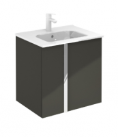 Royo Onix 600mm 2 Door Wall Unit and Square Ceramic Basin in Gloss Grey
