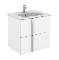 Royo Onix 600mm 2 Drawer Wall Unit and Ceramic Basin in Gloss White