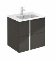 Royo Onix 600mm 2 Drawer Wall Unit and Ceramic Basin in Gloss Grey
