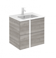 Royo Onix 600mm 2 Drawer Wall Unit and Ceramic Basin with White Handles in Sandy Grey