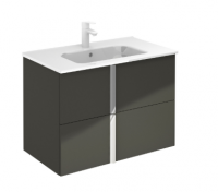 Royo Onix 800mm 2 Drawer Wall Unit and Ceramic Basin in Gloss Grey