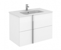 Royo Onix 800mm 2 Drawer Wall Unit and Ceramic Basin in Gloss White