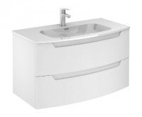 Royo Soft Matt White 1000mm 2 Drawer Wall Unit with Luxury Square Ceramic Basin