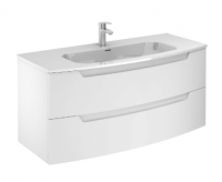 Royo Soft Matt White 1200mm 2 Drawer Wall Unit with Luxury Square Ceramic Basin