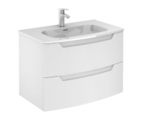 Royo Soft Matt White 800mm 2 Drawer Wall Unit with Luxury Square Ceramic Basin