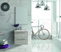Royo Street 500mm Sandy Grey 2 Drawer Wall Unit with Basin and Mirror