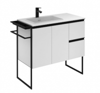 Royo Structure 900mm 2 Door, 2 Drawer Unit in Matt White with Basin