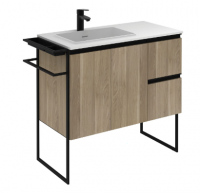 Royo Structure 900mm 2 Door, 2 Drawer Unit in Oak with Basin
