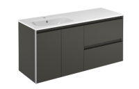 Royo Valencia 1200mm 2 Drawer, 2 Door Wall Unit and Ceramic Basin in Anthracite