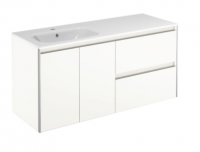 Royo Valencia 1200mm 2 Drawer, 2 Door Wall Unit and Ceramic Basin in Gloss White