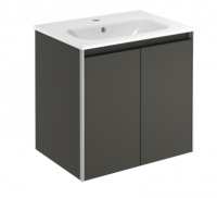 Royo Valencia 600mm 2 Door Wall Unit and Ceramic Basin in Anthracite