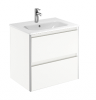 Royo Valencia 600mm 2 Drawer Wall Unit and Ceramic Basin - Gloss White