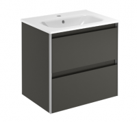 Royo Valencia 600mm 2 Drawer Wall Unit and Ceramic Basin in Anthracite