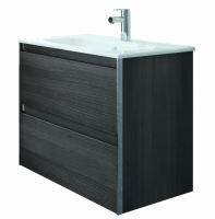 Royo Valencia 600mm 2 Drawer Wall Unit and Ceramic Basin in Samara Ash