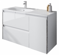 Royo Valencia 900mm 2 Drawer, 1 Door Wall Unit and Ceramic Basin in Gloss White