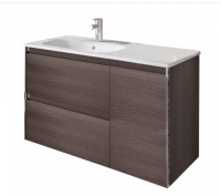 Royo Valencia 900mm 2 Drawer, 1 Door Wall Unit and Ceramic Basin in Samara Ash