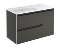 Royo Valencia 900mm 2 Drawer, 1 Door Wall Unit and Ceramic Basin in Anthracite